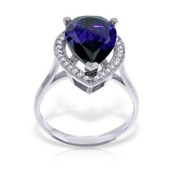 Genuine 5.26 ctw Sapphire & Diamond Ring Jewelry 14KT White Gold - REF-102R6P