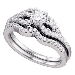 0.75 CTW Diamond Bridal Wedding Engagement Ring 14KT White Gold - REF-127N4F