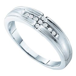 0.33 CTW His & Hers Diamond Cluster Matching Bridal Ring 14KT White Gold - REF-75W2K