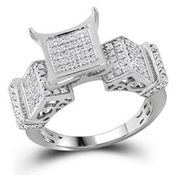 0.38 CTW Pave-set Diamond Square Cluster Ring 10KT White Gold - REF-30H2M