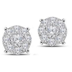 0.98 CTW Diamond Earrings 14K White Gold - REF-83M3F
