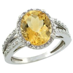 Natural 3.47 ctw Citrine & Diamond Engagement Ring 14K White Gold - REF-46M3H