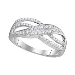 0.30 CTW Diamond Crossover Ring 10KT White Gold - REF-19W4K