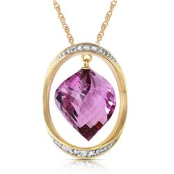 Genuine 10.85 ctw Amethyst & Diamond Necklace Jewelry 14KT Yellow Gold - REF-111M2T