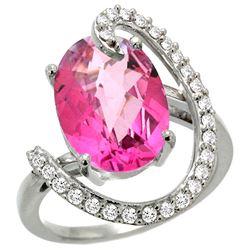 Natural 5.89 ctw Pink-topaz & Diamond Engagement Ring 14K White Gold - REF-91G4M