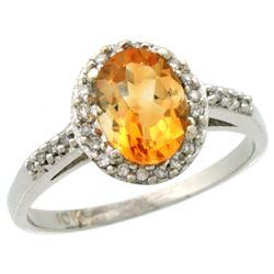 Natural 1.3 ctw Citrine & Diamond Engagement Ring 14K White Gold - REF-32A2V