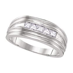0.50 CTW Mens Princess Diamond Wedding Ring 10KT White Gold - REF-59W9K