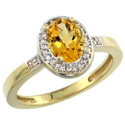Natural 1.08 ctw Citrine & Diamond Engagement Ring 10K Yellow Gold - REF-25X5A