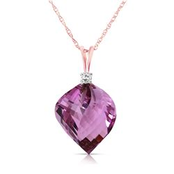 Genuine 10.80 ctw Amethyst & Diamond Necklace Jewelry 14KT Rose Gold - REF-29Y3F