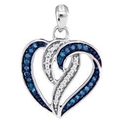 0.15 CTW Blue Color Diamond Heart Pendant 10KT White Gold - REF-14Y9X