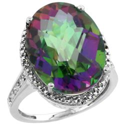 Natural 13.6 ctw Mystic-topaz & Diamond Engagement Ring 14K White Gold - REF-75V6F
