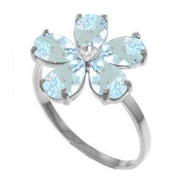 Genuine 2.22 ctw Aquamarine & Diamond Ring Jewelry 14KT White Gold - REF-42N2R