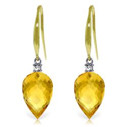 Genuine 19.1 ctw Citrine & Diamond Earrings Jewelry 14KT Yellow Gold - REF-41R3P