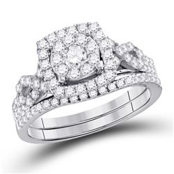 0.99 CTW Diamond Cluster Bridal Engagement Ring 14KT White Gold - REF-89W9K