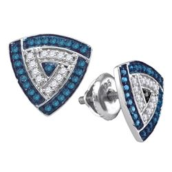 0.30 CTW Blue Color Diamond Triangle Cluster Earrings 10KT White Gold - REF-19X4Y