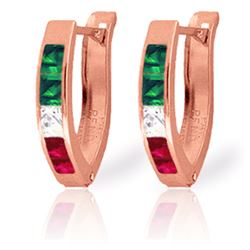 Genuine 1.28 ctw Emerald, White Topaz & Ruby Earrings Jewelry 14KT Rose Gold - REF-26V7W