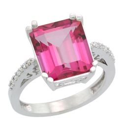 Natural 5.48 ctw Pink-topaz & Diamond Engagement Ring 14K White Gold - REF-51A4V