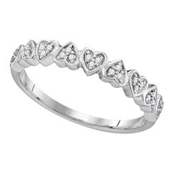 0.10 CTW Diamond Heart Love Ring 10KT White Gold - REF-13X4Y