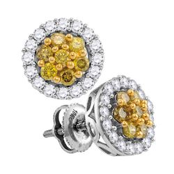 1 CTW Yellow Diamond Cluster Screwback Earrings 10KT White Gold - REF-67N4F