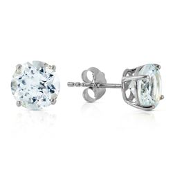 Genuine 3.1 ctw Aquamarine Earrings Jewelry 14KT White Gold - REF-32W8Y
