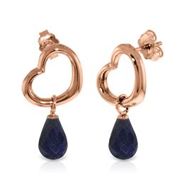 Genuine 6.6 ctw Sapphire Earrings Jewelry 14KT Rose Gold - REF-47K2V