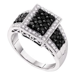 0.66 CTW Black Color Diamond Rectangle Cluster Ring 14KT White Gold - REF-41N9F