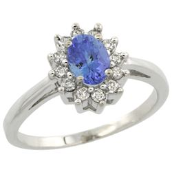 Natural 0.67 ctw Tanzanite & Diamond Engagement Ring 14K White Gold - REF-49V9F