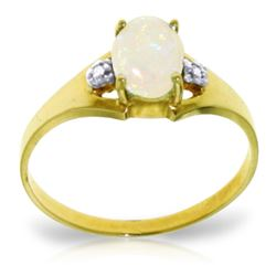Genuine 0.46 ctw Opal & Diamond Ring Jewelry 14KT Yellow Gold - REF-22H3X