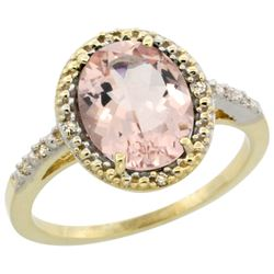 Natural 2.92 ctw Morganite & Diamond Engagement Ring 14K Yellow Gold - REF-58W9K