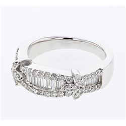 0.89 CTW Diamond Ring 18K White Gold - REF-120F9N