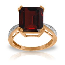 Genuine 7.52 ctw Garnet & Diamond Ring Jewelry 14KT Rose Gold - REF-91N3R