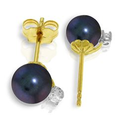 Genuine 4.1 ctw Black Pearl & Diamond Earrings Jewelry 14KT Yellow Gold - REF-21R6P