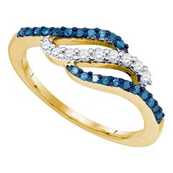 0.33 CTW Blue Color Diamond Ring 10KT Yellow Gold - REF-25N4F