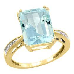 Natural 5.42 ctw Aquamarine & Diamond Engagement Ring 14K Yellow Gold - REF-94F2N