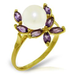 Genuine 2.65 ctw Pearl & Amethyst Ring Jewelry 14KT Yellow Gold - REF-28T5A