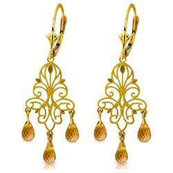 Genuine 3.75 ctw Citrine Earrings Jewelry 14KT Yellow Gold - REF-46F7Z