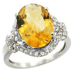 Natural 5.89 ctw citrine & Diamond Engagement Ring 14K White Gold - REF-88W8K