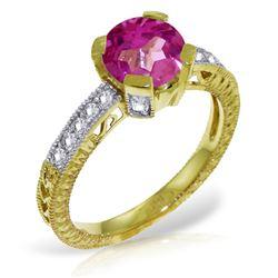 Genuine 1.80 ctw Pink Topaz & Diamond Ring Jewelry 14KT Yellow Gold - REF-98M3T