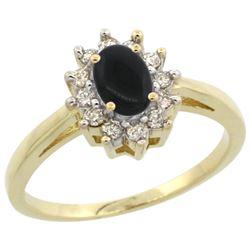 Natural 0.67 ctw Onyx & Diamond Engagement Ring 14K Yellow Gold - REF-47G7M