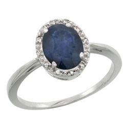 Natural 1.49 ctw Blue-sapphire & Diamond Engagement Ring 14K White Gold - REF-33W2K