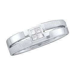 0.15 CTW Mens Princess Diamond 5mm Wedding Anniversary Ring 14KT White Gold - REF-64X4Y