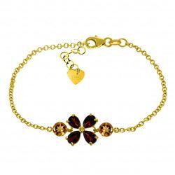 Genuine 3.15 ctw Garnet & Citrine Bracelet Jewelry 14KT Yellow Gold - REF-56W4Y