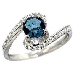 Natural 1.24 ctw london-blue-topaz & Diamond Engagement Ring 10K White Gold - REF-42M8H