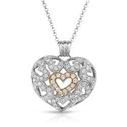 1.92 CTW Diamond Necklace 14K 2Tone Gold - REF-166N9Y