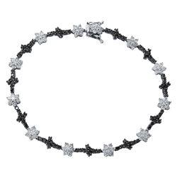 2.93 CTW White & Black Diamond Bracelet 14K White Gold - REF-95Y8X