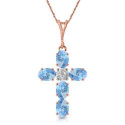 Genuine 1.75 ctw Blue Topaz & Diamond Necklace Jewelry 14KT Rose Gold - REF-39X8M
