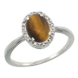 Natural 1.08 ctw Tiger-eye & Diamond Engagement Ring 14K White Gold - REF-25A6V