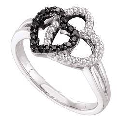 0.25 CTW Black Color Diamond Double Heart Ring 14KT White Gold - REF-34N4F