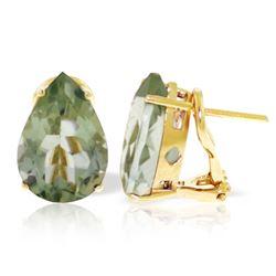Genuine 10 ctw Green Amethyst Earrings Jewelry 14KT Yellow Gold - REF-50F7Z