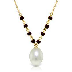 Genuine 5 ctw Pearl & Garnet Necklace Jewelry 14KT Yellow Gold - REF-25H4X